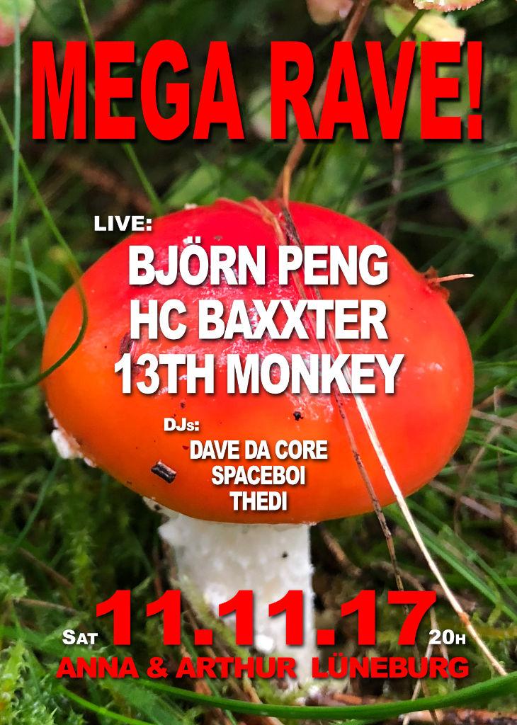 Mega Rave! Mit Björn Peng, HC Baxxter und 13th Monkey!